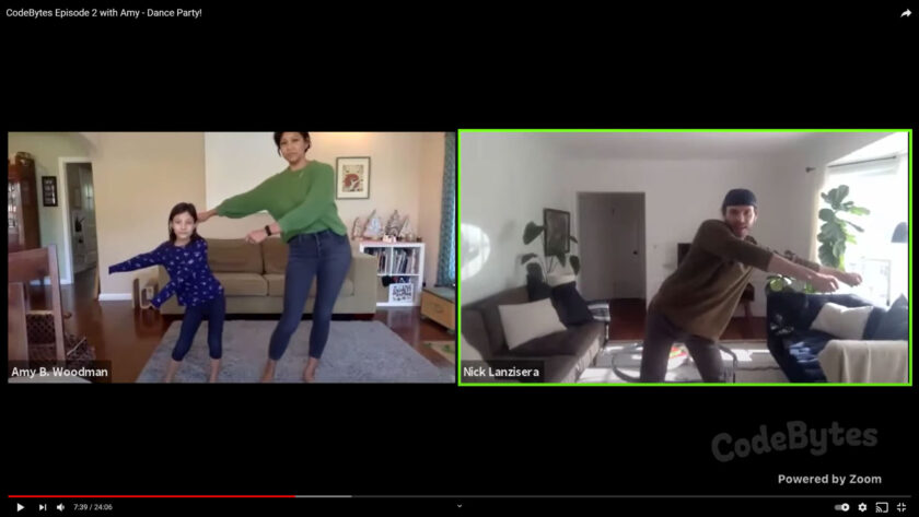 Screen shot with two images of a CodeBytes video lesson. On left Amy Woodman and a 9 year old elementary student are dancing with arms out to the left and on right Nick Lanzisera is dancing and reaching his arms out to