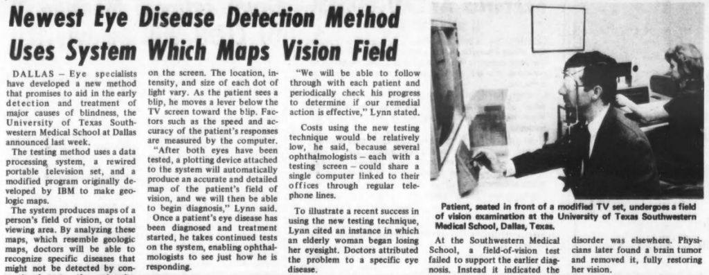 """""""Newest Eye Disease Detection Method Uses System Which Maps Vision Field"""" published in Computerworld Volume 3, Issue 27 on July 9, 1969"""