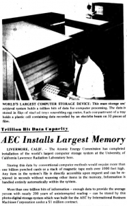 """""""AEC Installs Largest Memory"""" published in Computerworld Volume 1, Issue 12 on November 1, 1967"""