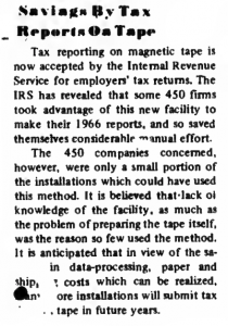 """Screenshot of """"Savings By Tax Reports on Tape"""" published in Computerworld Volume 1, Issue 5 on September 13, 1967"""