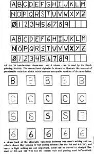Examples of 36 recognized characters and permissible variation in handwriting styles