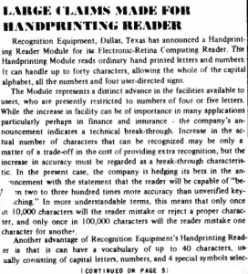 """""""Large claims made for handprinting reader"""" published in Computerworld Volume 1, Issue 9 on October 11, 1967"""