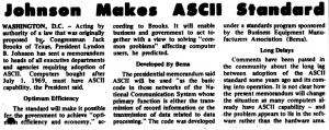 """Screenshot of """"Johnson Makes ASCII Standard"""" published in Computerworld Volume 2, Issue 13 on March 27, 1968"""