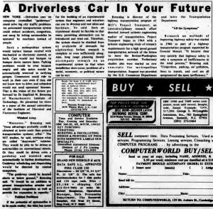 """""""A Driverless Car In Your Future"""" published in Computerworld Volume 2, Issue 14 on April 3, 1968"""