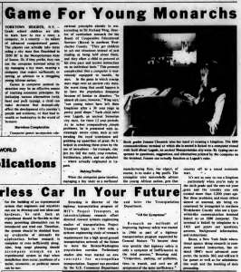 """""""Game For Young Monarchs"""" published in Computerworld Volume 2, Issue 14 on April 3, 1968"""
