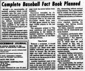 """""""Complete Baseball Fact Book Planned"""" published in Computerworld Volume 2, Issue 19 on May 8, 1968"""
