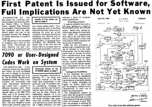 """""""First Patent Is Issued for Software, Full Implications Are Not Yet Known"""" published in Computerworld Volume 2, Issue 25 on June 19, 1968"""