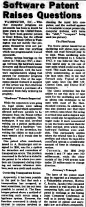 """""""Software Patent Raises Questions"""" published in Computerworld Volume 2, Issue 25 on June 19, 1968"""