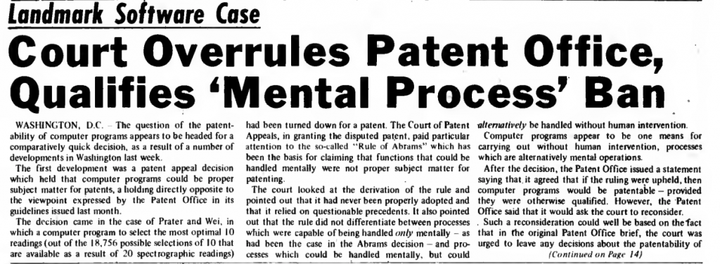 """""""Court Overrules Patent Office, Qualifies 'Mental Process' Ban"""" published in Computerworld Volume 2, Issue 49 on December 4,1968"""