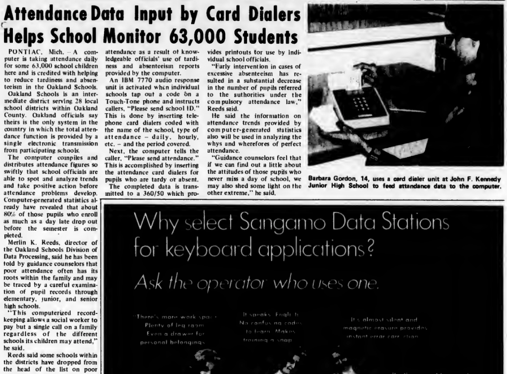 """""""Attendance Data Input by Card Dialers Helps School Monitor 63,000 Students"""" published in Computerworld Volume 3, Issue 13 on April 2, 1969"""