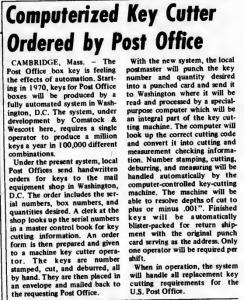 """""""Computerized Key Cutter Ordered by Post Office"""" published in Computerworld Volume 3, Issue 2 on January 15, 1969"""
