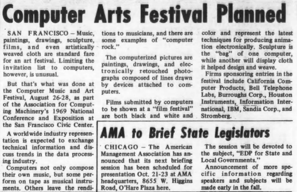 """""""Computer Arts Festival Planned"""" published in Computerworld Volume 3, Issue 27 on July 9, 1969"""