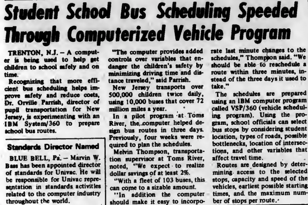"""""""Student School Bus Scheduling Speeded Through Computerized Vehicle Program"""" published in Computerworld Volume 3, Issue 37 on September 17, 1969"""