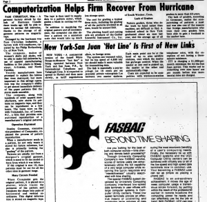 """""""Computerization Helps Firm Recover from Hurricane"""" published in Computerworld Volume 3, Issue 37 on September 17, 1969"""