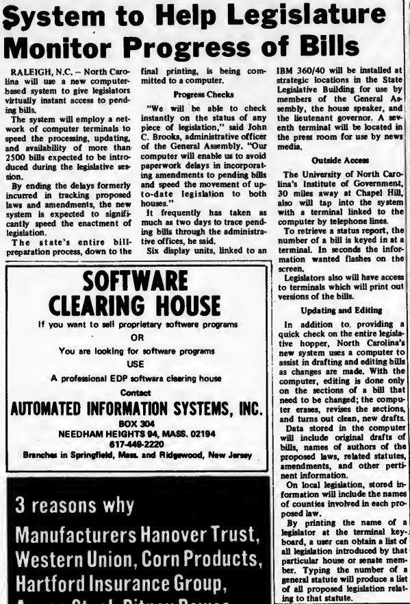 """System to Help Legislature Monitor Progress of Bills"" published in Computerworld Volume 3, Issue 4 on January 29, 1969"