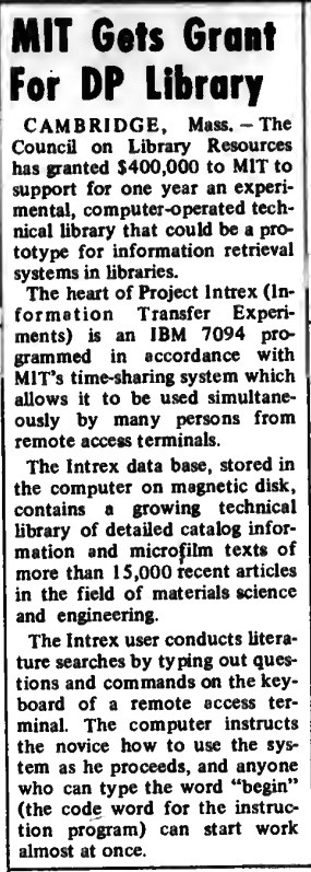 """""""MIT Gets Grant for DP Library"""" published in Computerworld Volume 6, Issue 3 on January 19, 1972"""