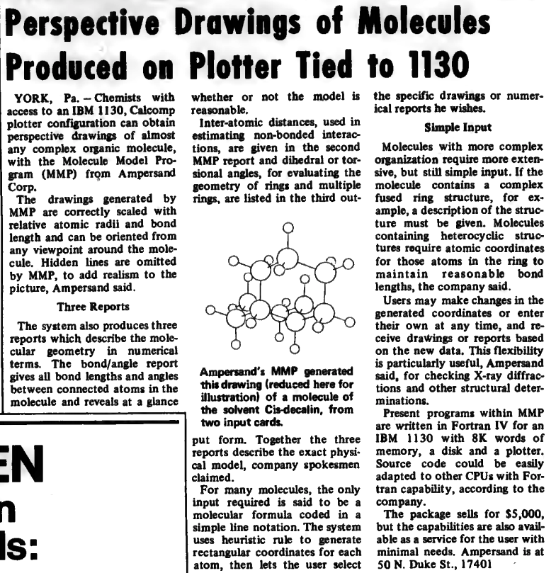 """""""Perspective Drawings of Molecules Produced on Plotter Tied to 1130"""" published in Computerworld Volume 6, Issue 5 on February 2, 1972"""