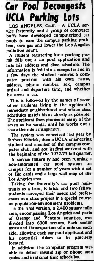 """""""Car Pool Decongests UCLA Parking Lots"""" published in Computerworld Volume 6, Issue 51 on December 20, 1972"""