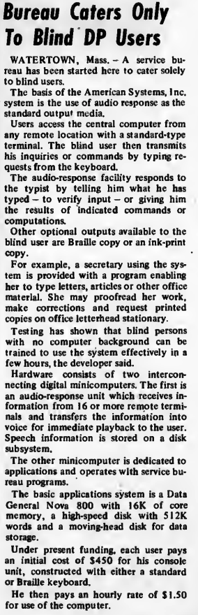 """""""Bureau Caters Only to Blind DP Users"""" published in Computerworld Volume 7, Issue 14 on April 4, 1973"""
