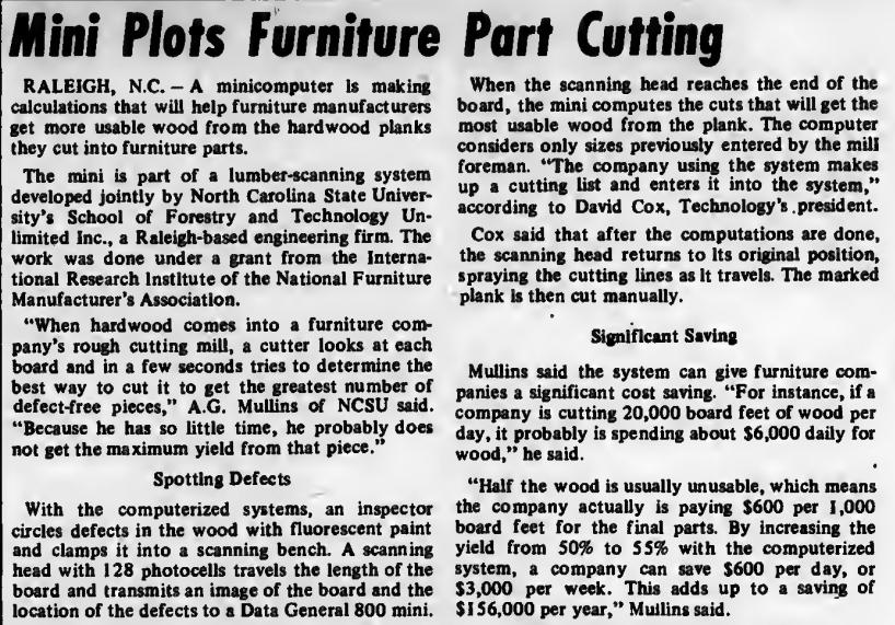 """""""Mini Plots Furniture Part Cutting"""" published in Computerworld Volume 7, Issue 4 on January 24, 1973"""