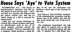 """""""House Says 'Aye' to Vote System"""" published in Computerworld Volume 7, Issue 5 on January 31, 1973"""
