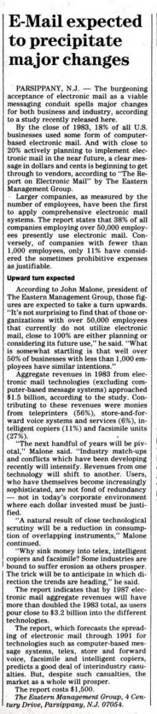 """""""E-Mail expected to precipitate major changes"""" published in Computerworld Volume 18, Issue 5 on January 30, 1984"""