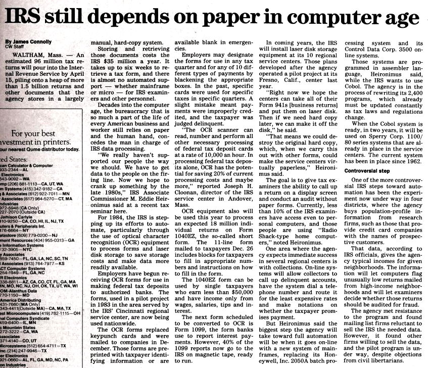"""""""IRS still depends on paper in computer age"""" published in Computerworld Volume 18, Issue 5 on January 30, 1984"""
