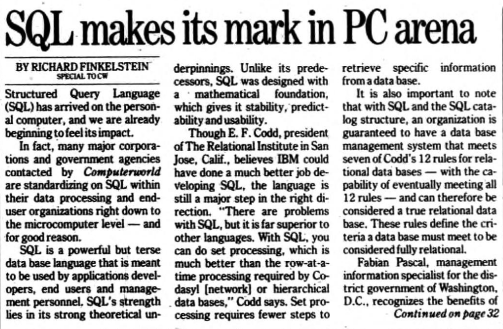 """""""SQL makes it mark in PC arena"""" published in Computerworld Volume 21, Issue 7 on February 16, 1987"""