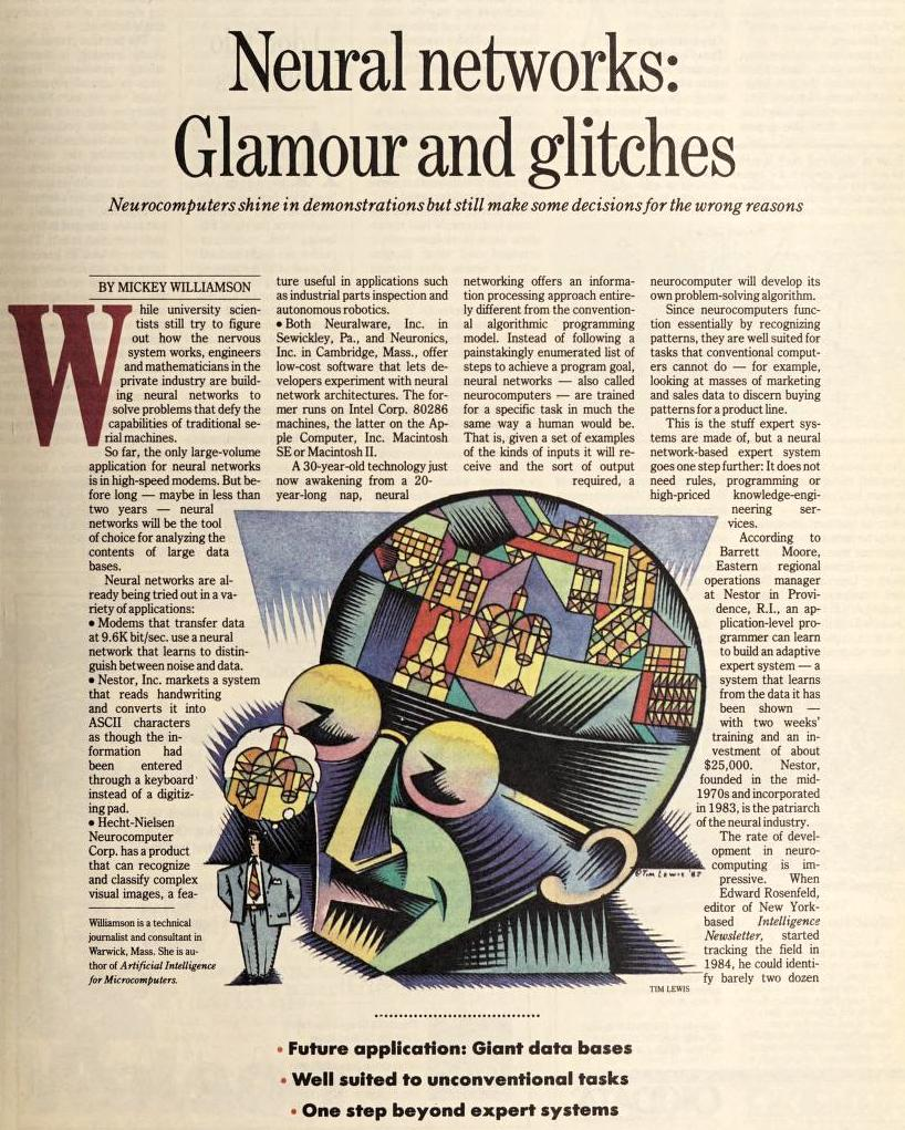 """""""Neural networks: Glamour and glitches"""" published in Computerworld Volume 22, Issue 7 on February 15, 1988"""