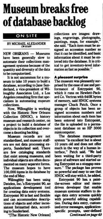 """""""Museum breaks free of database backlog"""" published in Computerworld Volume 23, Issue 17 on April 24, 1989"""