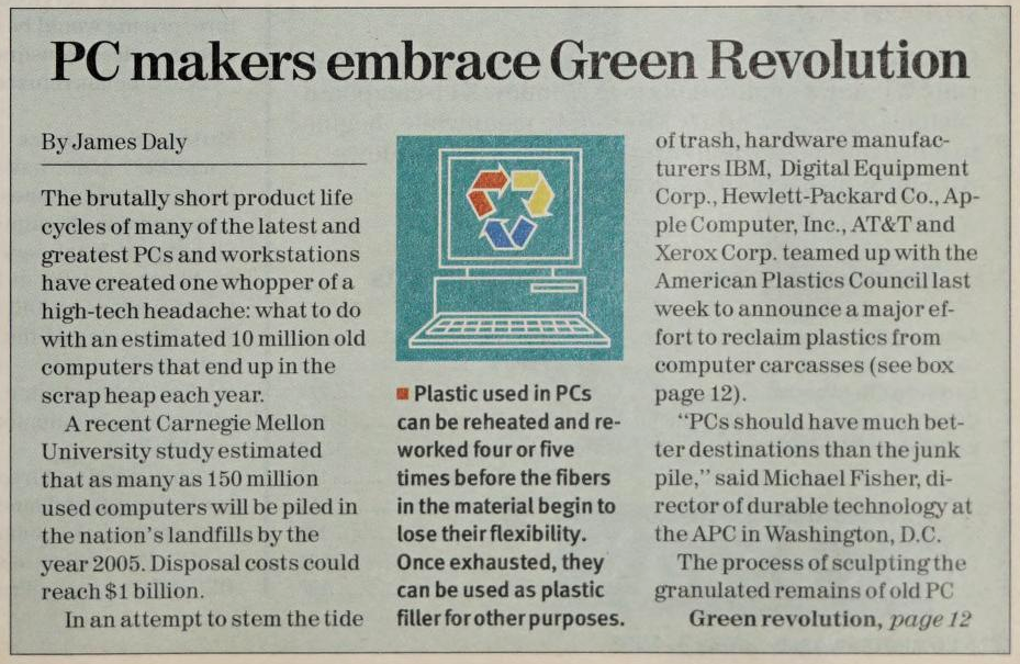 """""""PC makers embrace Green Revolution"""" published in Computerworld Volume 27, Issue 18 on May 3, 1993"""
