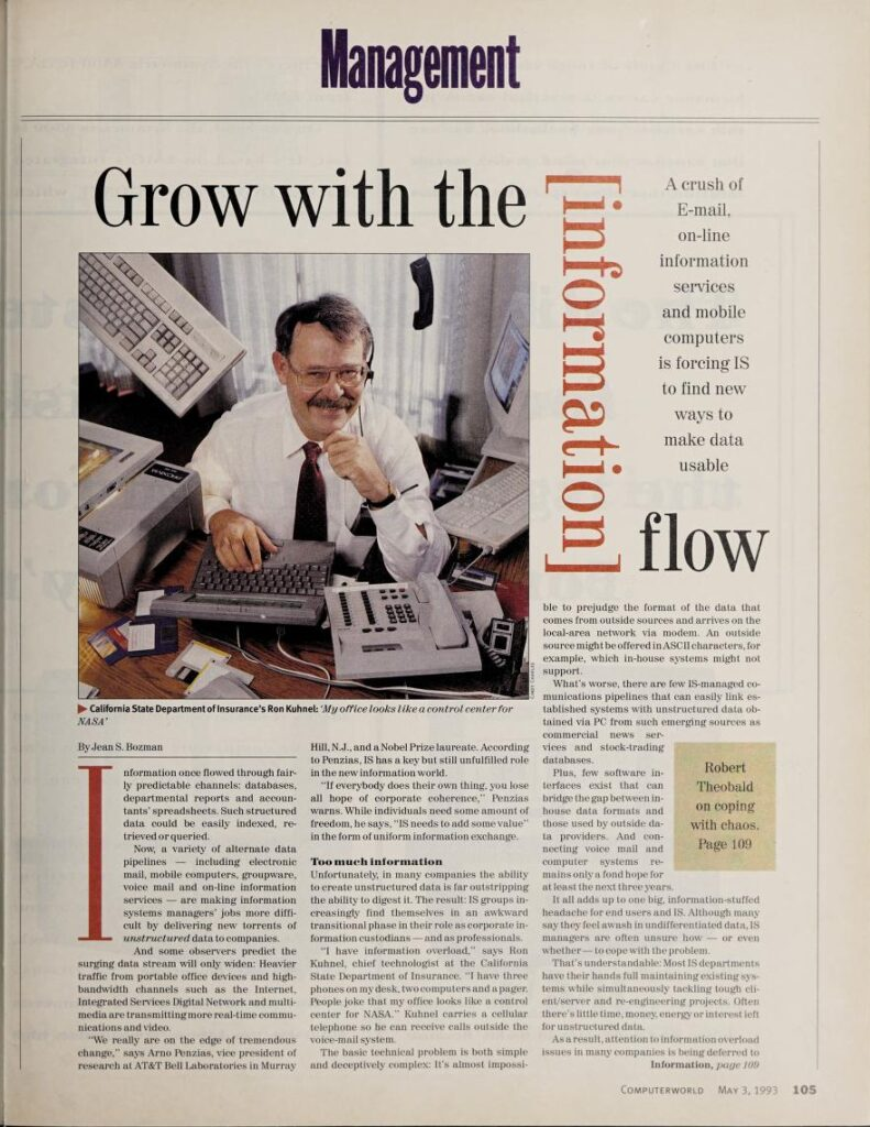 """""""Grow with the information flow"""" published in Computerworld Volume 27, Issue 18 on May 3, 1993"""