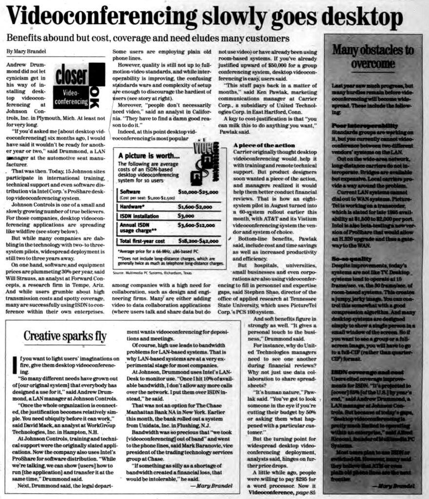 """Videoconferencing slowly goes desktop"" published in Computerworld Volume 29, Issue 8 on Feb. 20, 1995"