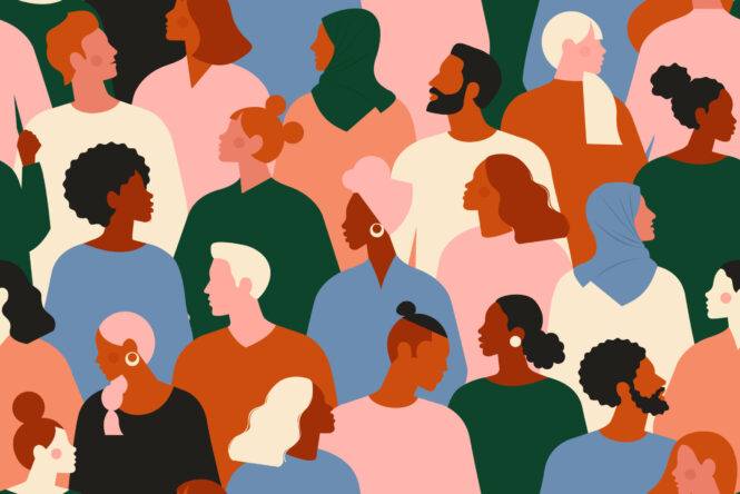 Illustration of multi-racial, multi cultural group of people